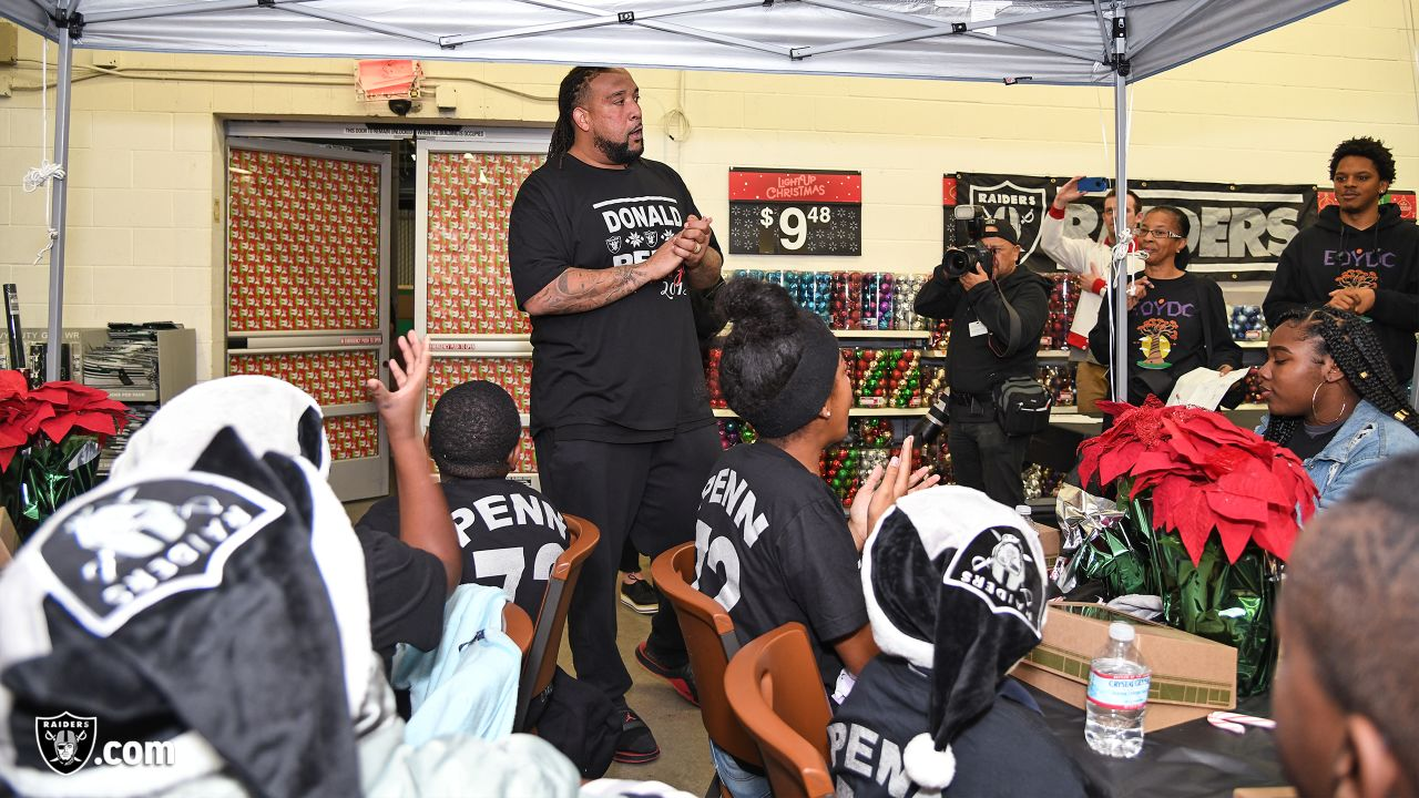 Donald Penn's Shop with a Jock gives 25 kids from the East Oakland Youth Development Center a chance to fulfill their holiday wish list by receiving a $300 Walmart gift card and a chance to go on an shopping spree with Donald Penn at Walmart. Joining Penn are Kelechi Osemele, Cameron Hunt, Brandon Parker, Jamar McGloster, Johnny Townsend, Ryan Yurachek, Darren Waller, Paul Butler and Clinton McDonald.