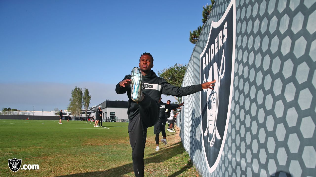Raiders cornerback Nick Nelson at a workout during phase one of the offseason program at the Raiders Practice Facility in Alameda, Calif.