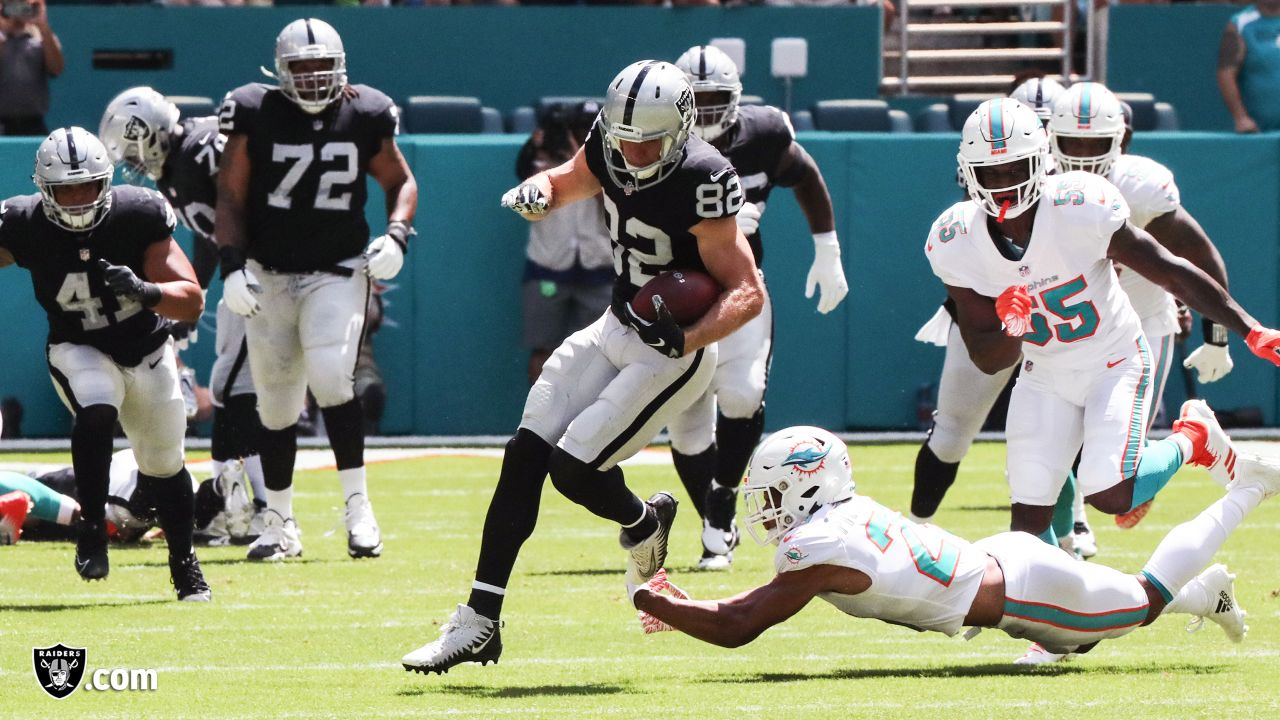 The Oakland Raiders regular season game against the Miami Dolphins at Hard Rock Stadium, Sunday, September 23, 2018, in Miami Gardens, Florida.