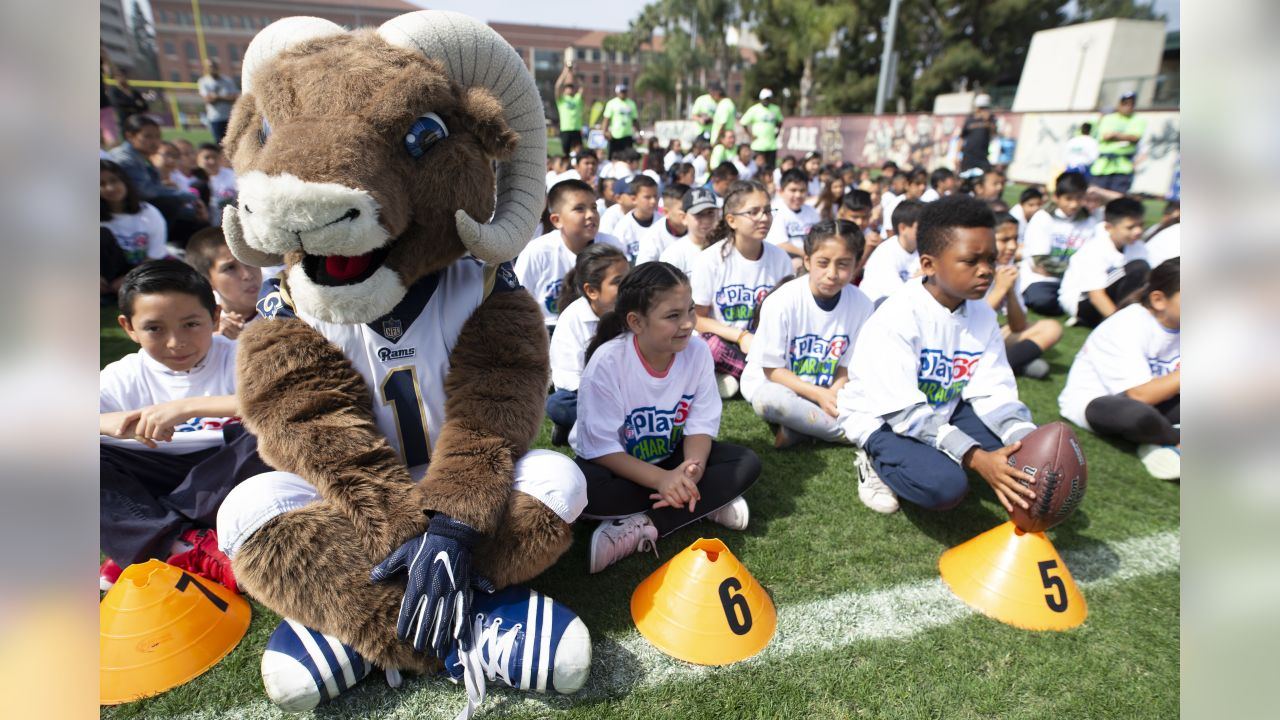 The Los Angeles Rams team mascot Rampage at the Rams and Los Angeles Chargers play 60 Character Camp, an NFL partnered national youth health and fitness campaign focused on increasing the wellness of young fans by encouraging them to be active for at least 60 minutes a day, at the University Of Southern California, in Los Angeles, CA, on April 26th, 2019. (Daniel Bowyer/Rams)