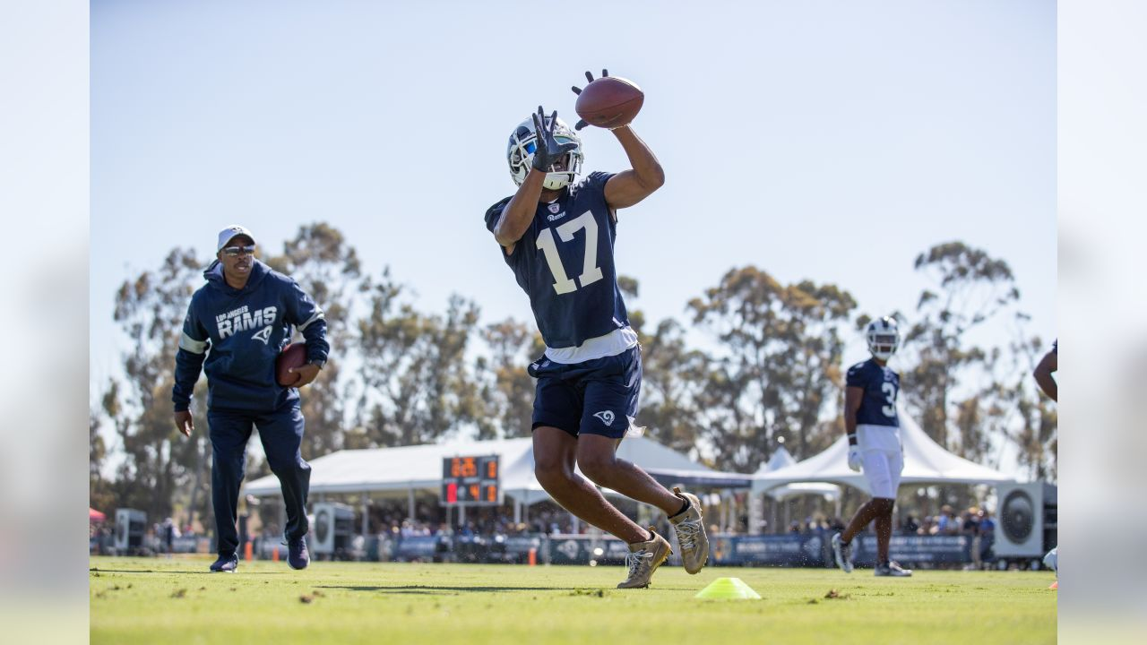Wide Receiver (17) Robert Woods of the Los Angeles Rams practices on day 2 of Training Camp, Sunday, July 28, 2019, in Irvine, CA. (Jeff Lewis/Rams)
