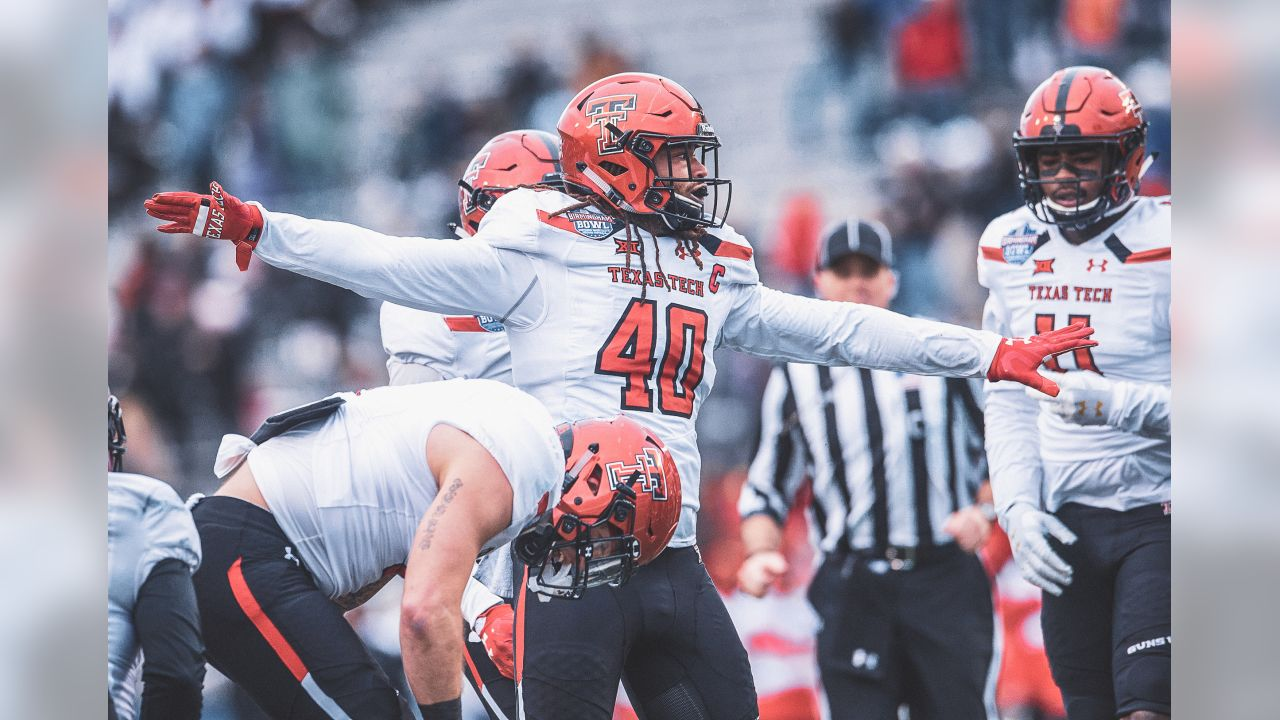 Texas Tech linebacker Dakota Allen (40) celebrates after a stop on fourth down during the Birmingham Bowl NCAA college football game, Saturday, Dec. 23, 2017 in Birmingham, Ala. (AP Photo/Albert Cesare)