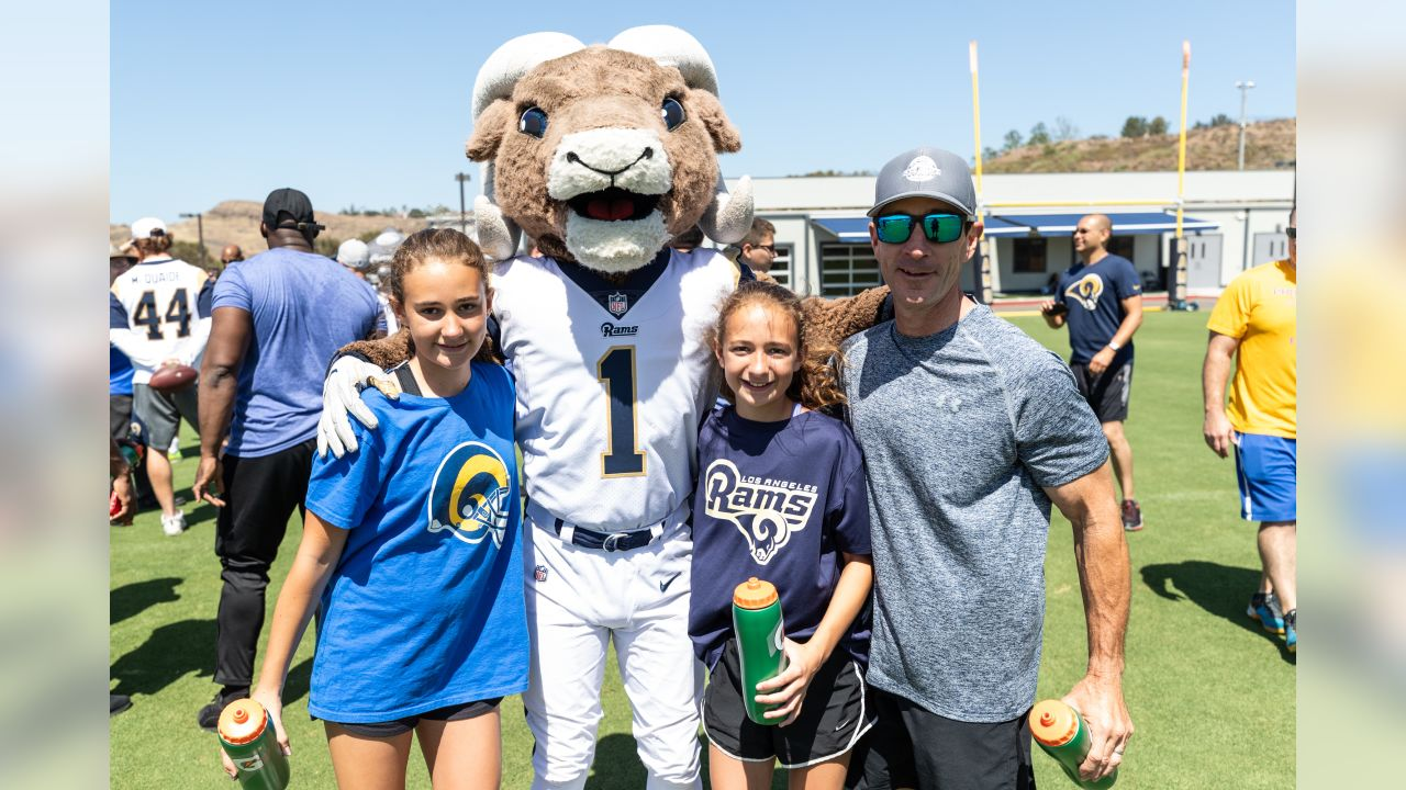 The Los Angeles Rams host a Sideline Challenge presented by 24hr Fitness at the Rams Training Facility, to promote healthy physical fitness through exercises and fundamentals. Rams Cheerleaders, players and Rampage join in on the action with fans in attendance. Saturday, June 09th, 2018 in Thousand Oaks, CA. (Rams/Navarro)