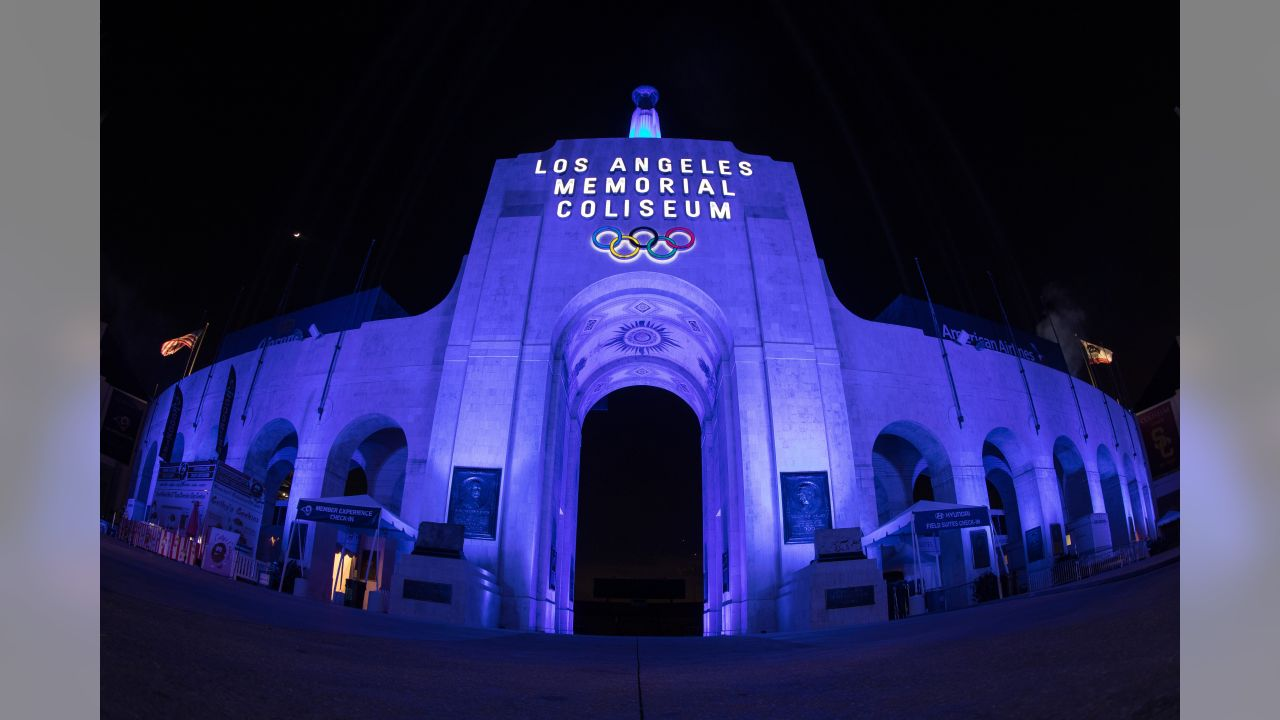 The LA Memorial Coliseum is lit blue two days before the Los Angeles Rams Playoff Game, Thursday, January 10, 2019, in Los Angeles, CA. (Jeff Lewis/Rams)