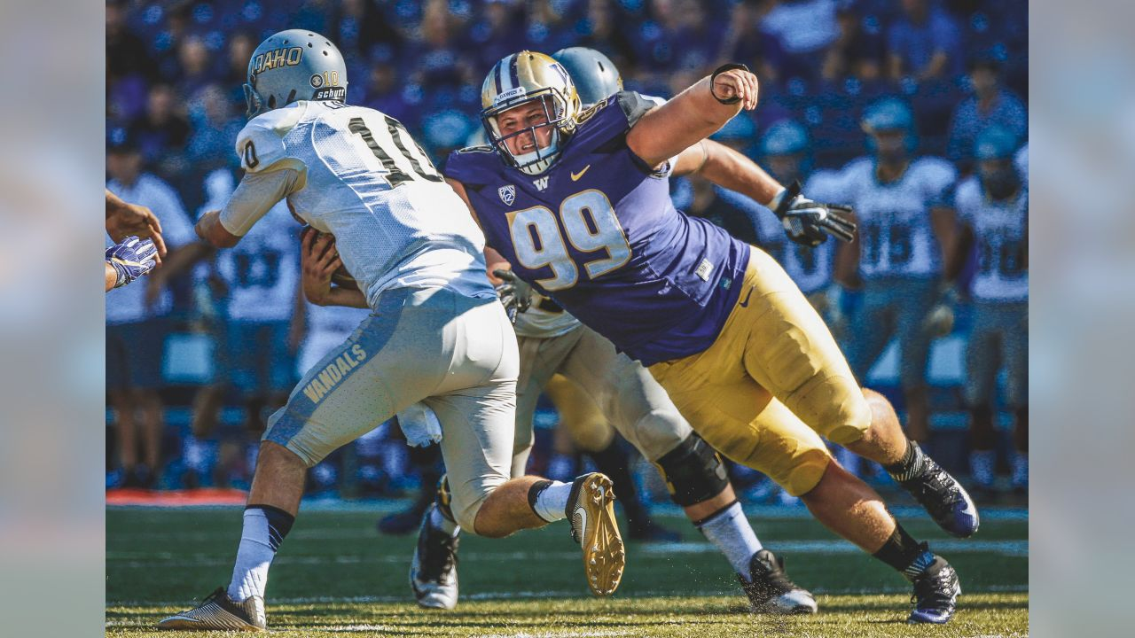 Idaho quarterback Matt Linehan, left, is sacked by Washington defensive lineman Greg Gaines (99) in the first half of an NCAA college football game, Saturday, Sept. 10, 2016, in Seattle. (AP Photo/Ted S. Warren)