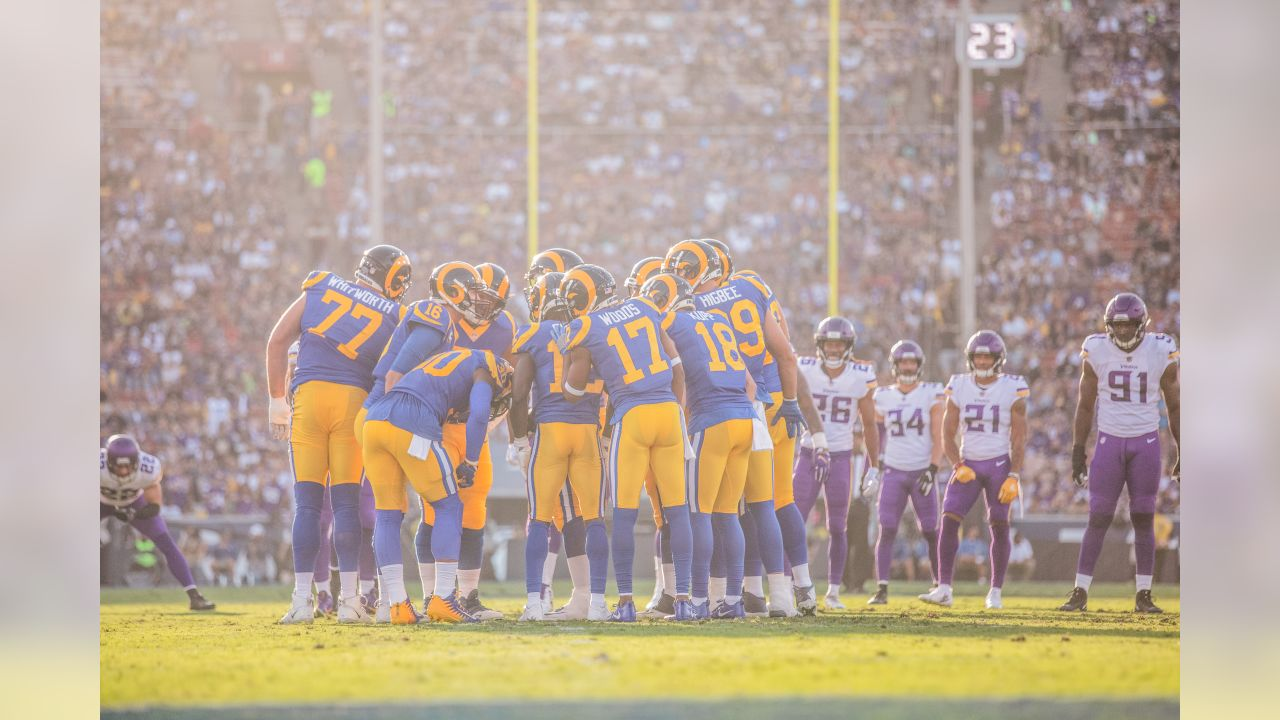 Los Angeles Rams huddle during an NFL Week 4 Football game against the Minnesota Vikings. The Thursday Night Football game was simulcast on NFL Network, FOX, and Amazon Prime Video at the Los Angeles Memorial Coliseum in Los Angeles, Calif. on September 27th, 2018 (Hiro Ueno/Rams).