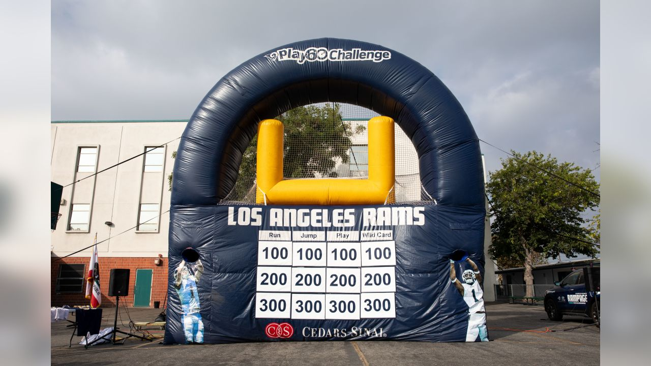 The Los Angeles Rams partner with the LAPD and the non-profit organization Shoes That Fit to bridge the gap between law enforcement, the community, promote health and wellness, and equip 220 students with brand new athletic shoes, Tuesday Oct 30, 2018, in Los Angeles. (Hiro Ueno/Rams)