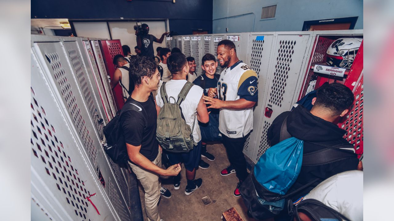 Defensive tackle (93) Ndamukong Suh and the Los Angeles Rams partner with Nike to provide youth football athletes from Garfield High School with new uniforms and gear for their upcoming competition at the East LA Classic. Wednesday, October 23, 2018 in Los Angeles, CA. (Will Navarro/Rams)