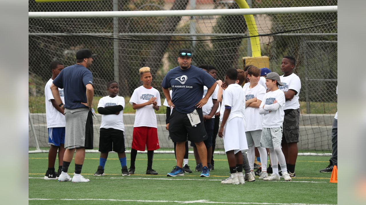 The Los Angeles Rams host Community Day in the City of Inglewood, alongside a co-ed Football Clinic for youth in learning football related drills and competitions while promoting safety, healthy and educational life skills. Certified USA Football coaches and Rams community members take the lead in todays activities. Attendees will have a chance to receive football gear owned by previous Rams players, football cleats, hats donated by the Rams. Saturday, June 1, 2019, Inglewood, CA. (Will Navarro/Rams)
