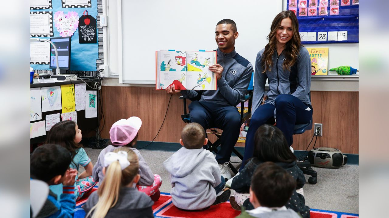 The Los Angeles Rams Community Service Team visit Las Posas Elementary School to take part of Read Across America. Rams Cheerleaders and Community Staff sit with students to read to them their favorite book. Friday, March 01, 2019 in Camarillo, CA. (Will Navarro/Rams)