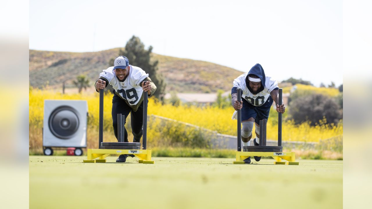 Defensive tackle (99) Aaron Donald of the Los Angeles Rams works out on day 6 of Phase I of the offseason program workouts, Tuesday, April 23, 2019, in Thousand Oaks, CA. (Jeff Lewis/Rams)