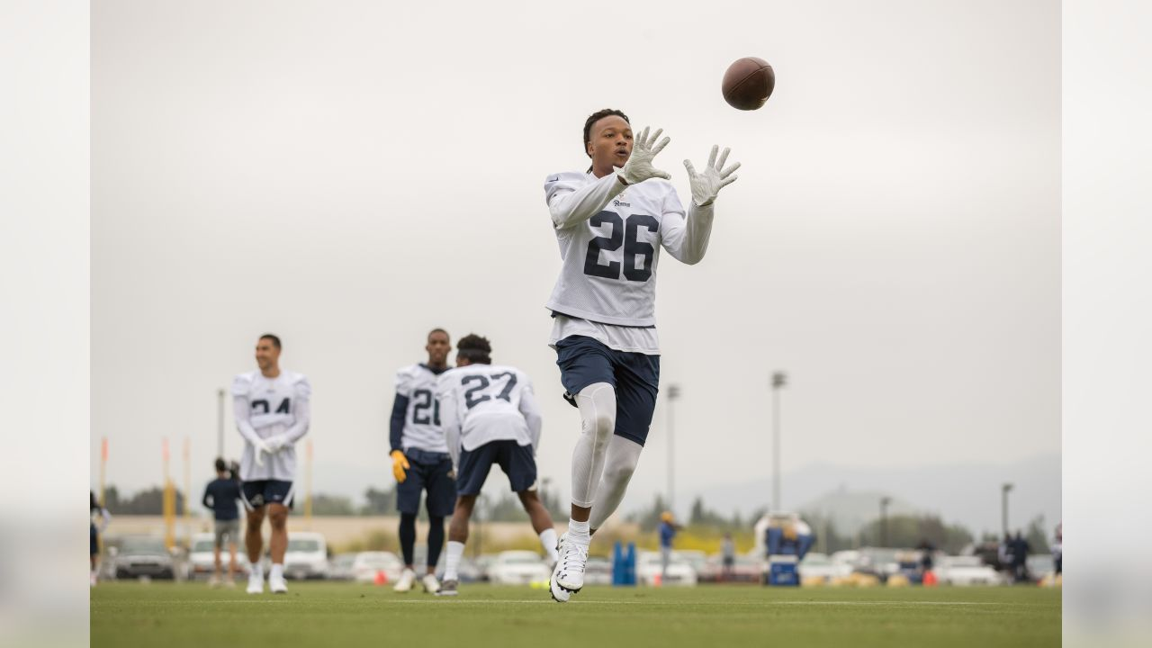 Safety (26) Marqui Christian of the Los Angeles Rams works out on the field, Tuesday, May 14, 2019, in Thousand Oaks, CA. (Jeff Lewis/Rams)