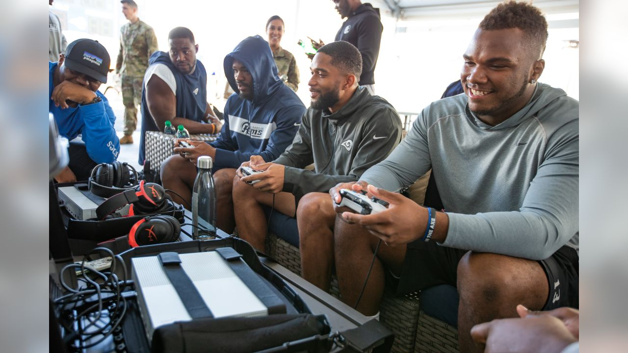 Pro VS. GI Joes an organization giving troops serving all over the world a once-in-a-lifetime opportunity to take on their favorite professional athlete or celebrity in heated head-to-head video game competitions hosted an event against the Los Angeles Rams rookies, at the Rams practice facility in Thousand Oaks California, on November 5th, 2018.