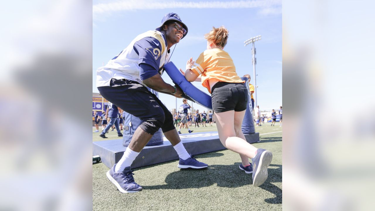 The Los Angeles Rams and NFL Play 60 held thier annual field day at  William Rolland Stadium on May 4, 2018 in Thousand Oaks, California. There were over a 1,000 elementary school students that came to Field Day. Defensive lineman Samson Ebukham participates in Play 60 drills. (Photo By: Daniel Bowyer/Rams)