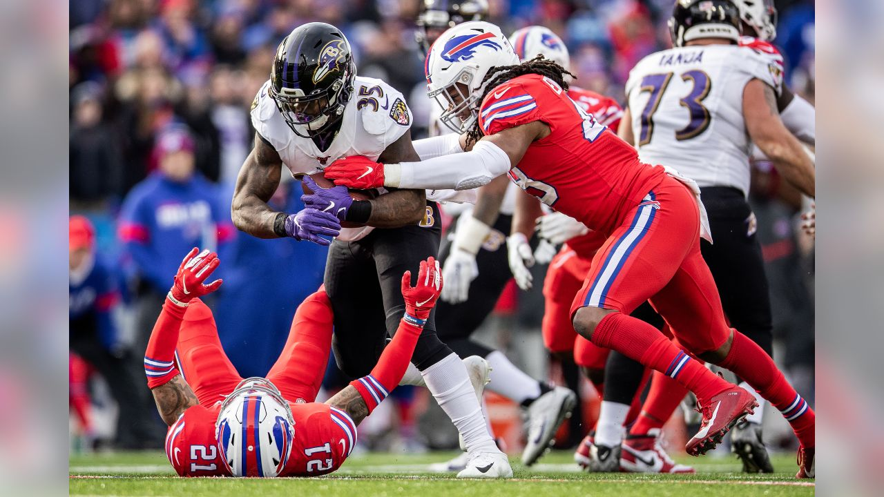 The Baltimore Ravens defeated the Buffalo Bills by a score of 24-17 at New Era Field on December 8, 2019 in Orchard Park, New York clinching a spot in the playoffs.