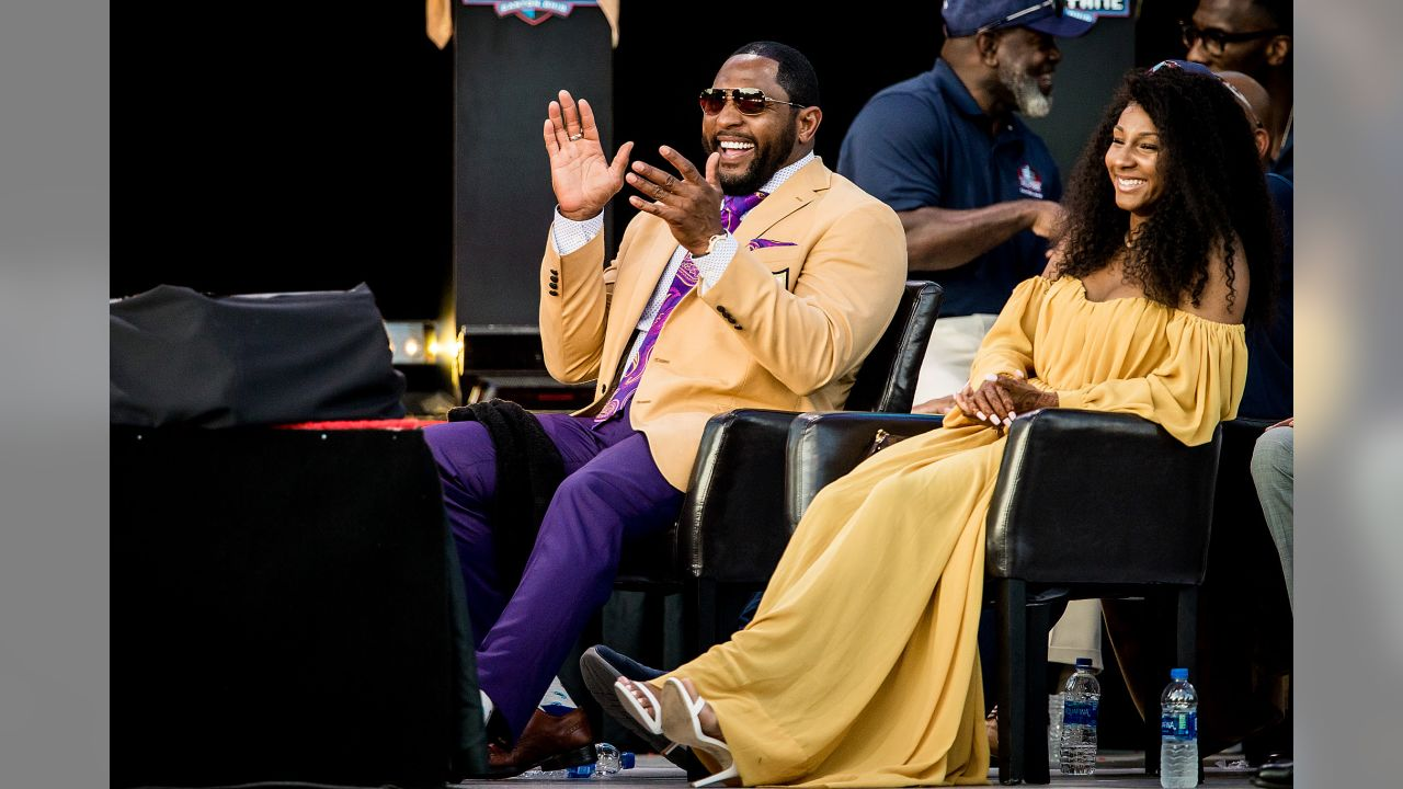 Former Baltimore Ravens' linebacker Ray Lewis delivers his Pro Football Hall of Fame Enshrinement Ceremony speech at the Pro Football Hall of Fame on August, 4, 2018 in Canton, OH.