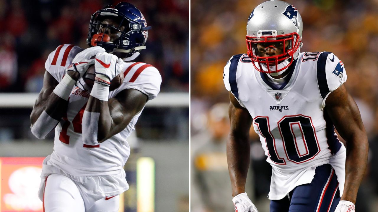 **D.K. Metcalf, Ole Miss – Josh Gordon**  [**Zierlein's Scouting Report**](https://www.nfl.com/prospects/d.k.-metcalf?id=32194d45-5436-3377-5806-d2746f1b94aa)**:** Big, explosive talent with projectable upside to become a home-run threat as a WR1. Teams seek out pass-catchers with rare height, weight and speed dimensions and Metcalf has those for days. While he has the talent to become a full-field threat, Metcalf is still an unpolished gem who was the second-best receiver on his college team. Until his skill-set is more developed, he could begin his career as a hit-or-miss long-ball threat. However, once it clicks, defenses could struggle to find solutions for him.