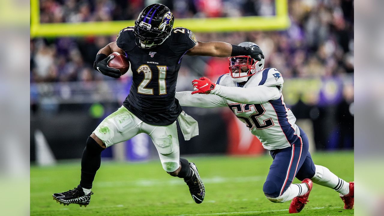 The Baltimore Ravens defeated the New England Patriots by a score of 37-20 during Sunday Night Football at M&T Bank Stadium on November 3, 2019 in Baltimore, MD.