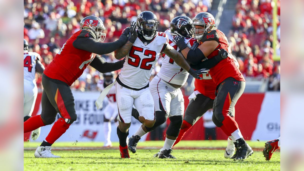 Atlanta Falcons defensive end Bruce Irvin (52) is seen in action during a NFL football game against the Tampa Bay Buccaneers, Sunday, Dec. 30, 2018, in Tampa,Fla. (Logan Bowles via AP)