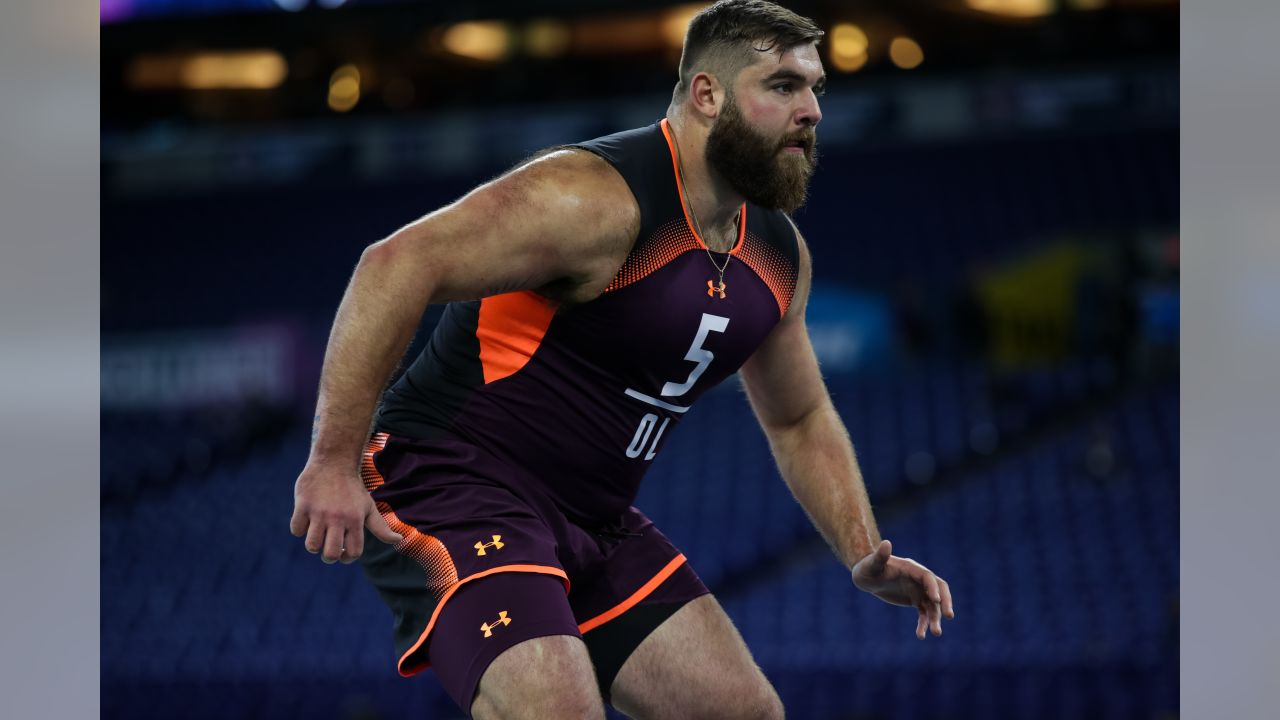 Penn State offensive lineman Ryan Bates during the 2019 Scouting Combine, Friday, Mar. 1, 2019 in Indianapolis. (Hiro Ueno/NFL)
