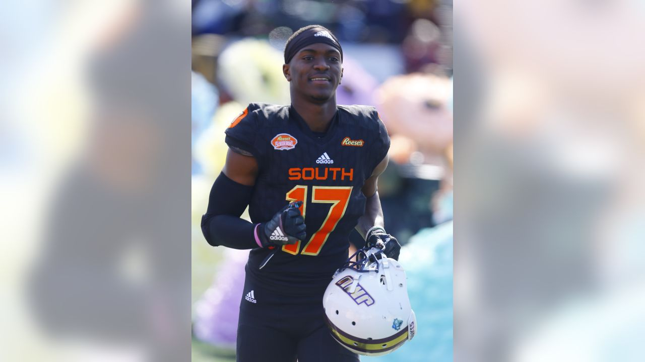 South defensive back Jimmy Moreland of James Madison (17) before the start of the Senior Bowl college football game, Saturday, Jan. 26, 2019, in Mobile, Ala. (AP Photo/Butch Dill)
