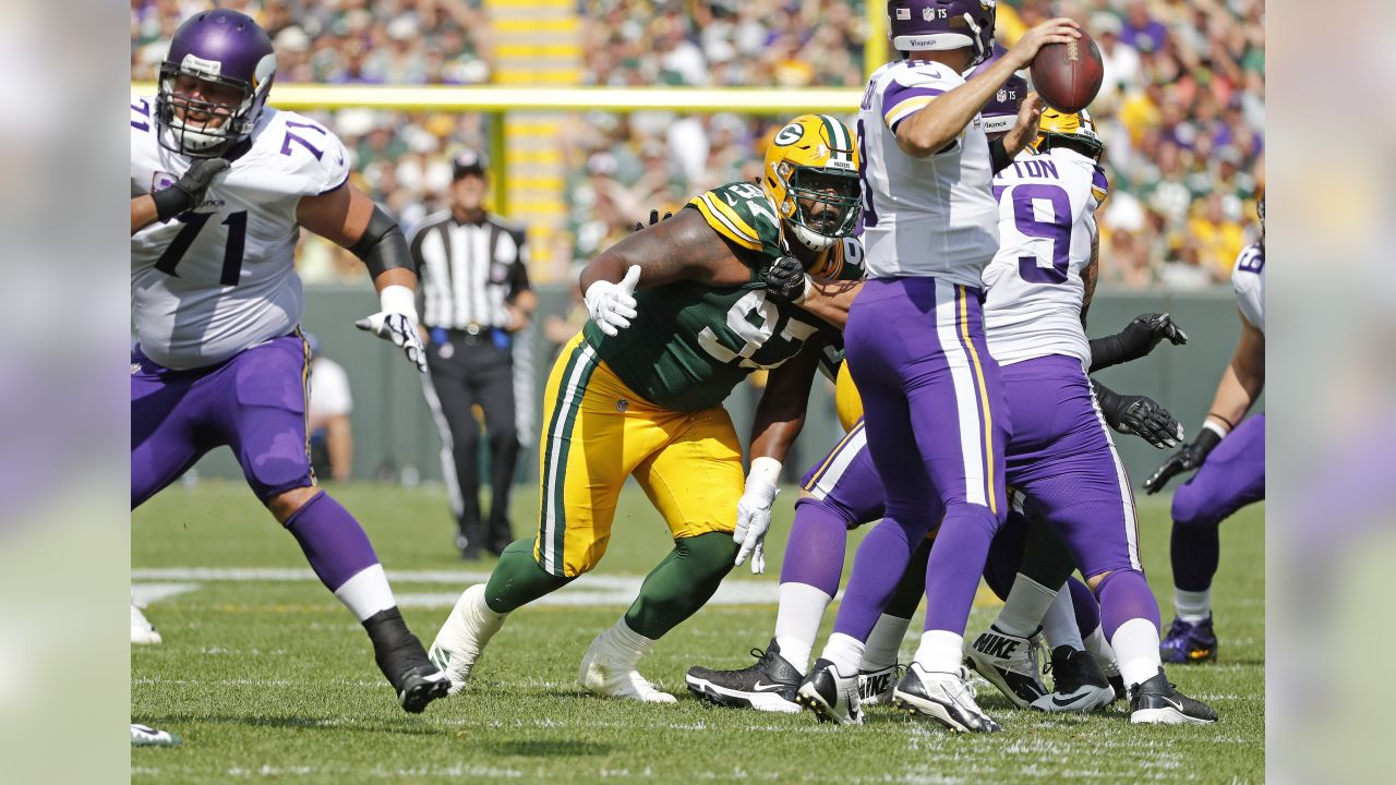 Green Bay Packers defensive lineman Muhammad Wilkerson (97) pass rushes during an NFL football game against the Minnesota Vikings on Sunday, Sept. 16, 2018 in Green Bay, Wisc. (Greg Trott via AP)