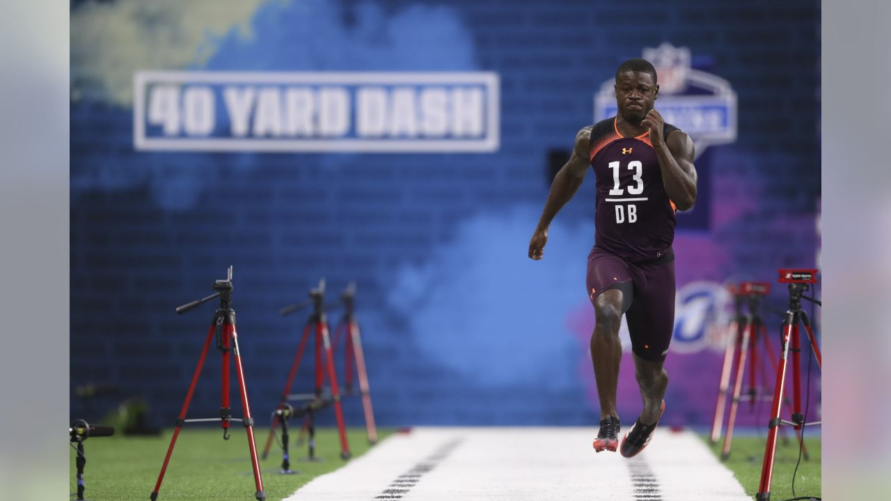South Carolina defensive back Rashad Fenton runs the 40-yard dash during the 2019 Scouting Combine,Monday, Mar. 4, 2019 in Indianapolis. (Perry Knotts/NFL)