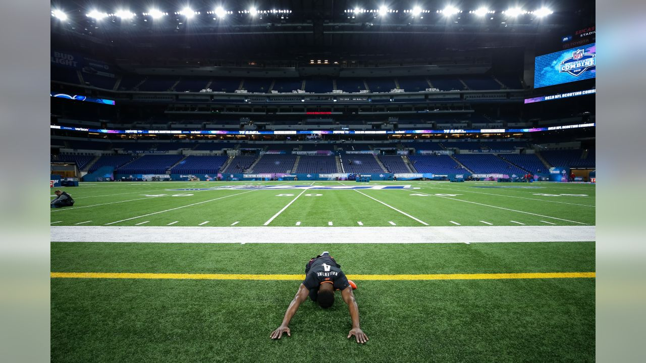Washburn defensive back Corey Ballentine warms up during the 2019 Scouting Combine,Monday, Mar. 4, 2019 in Indianapolis. (Logan Bowles/NFL)