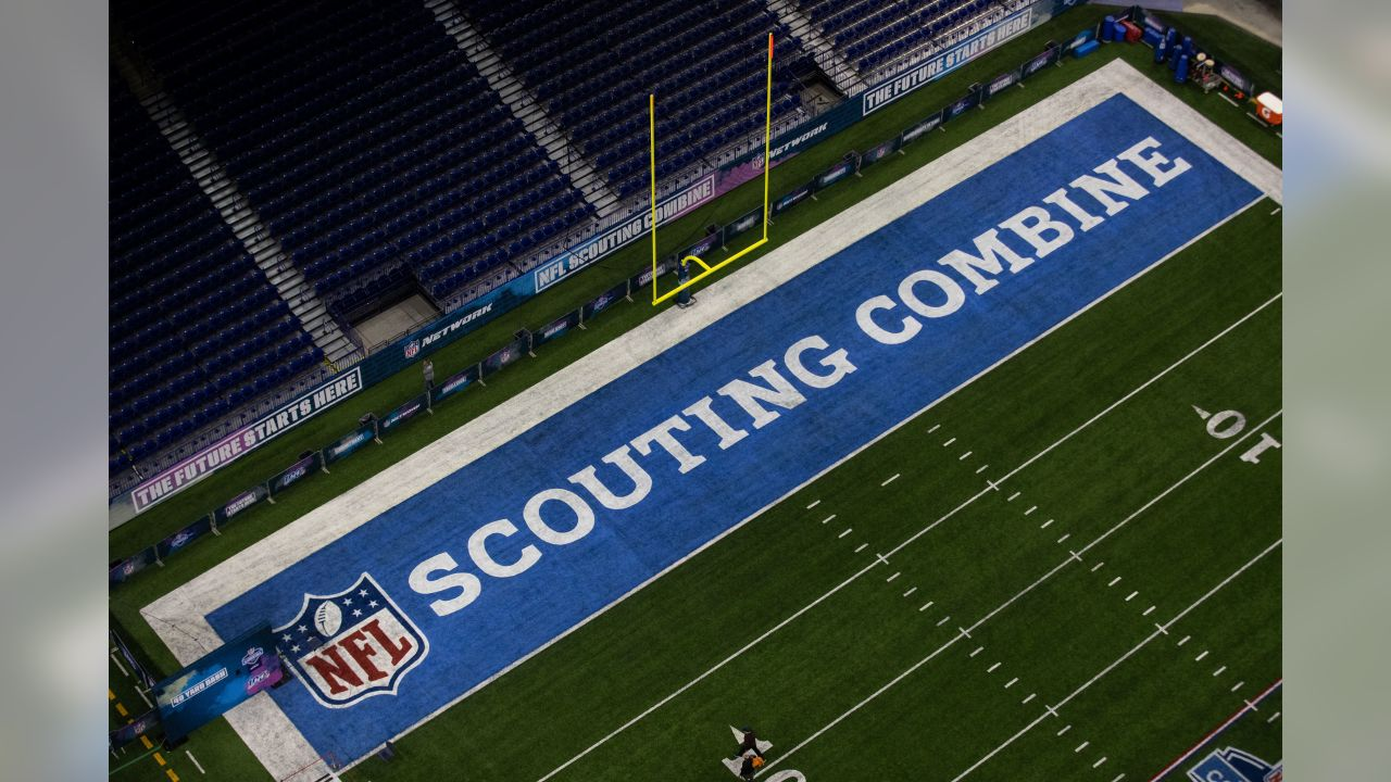 A general view of the NFL 100 logo and field during the 2019 Scouting Combine,Thursday, Feb. 28, 2019 at Lucas Oil Stadium in Indianapolis. (Hiro Ueno/NFL)