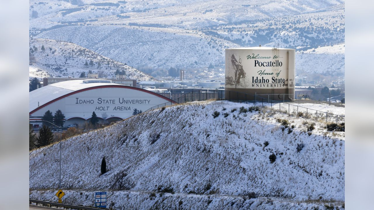 """A vantage point of the """"Welcome to Pocatello"""" tower that sits elevated over Idaho State Univeristy from across Interstate 15."""