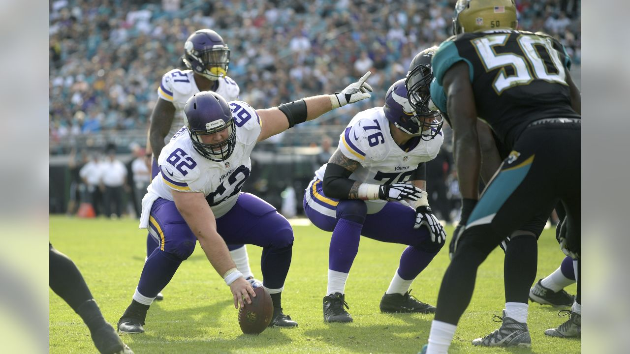 Minnesota Vikings center Nick Easton (62) and offensive guard Alex Boone (76) set up to bock in front of Jacksonville Jaguars outside linebacker Telvin Smith (50) during the second half of an NFL football game in Jacksonville, Fla., Sunday, Dec. 11, 2016. The Vikings won 25-16. (AP Photo/Phelan M. Ebenhack)