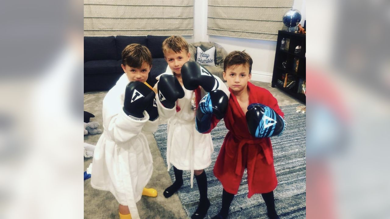 **Drew Brees:** Last night was movie night w the boys...Rocky III. Boys were dressed and ready. I've got a Southpaw in the group too. Better stay away from Bowen's left hand..lethal!