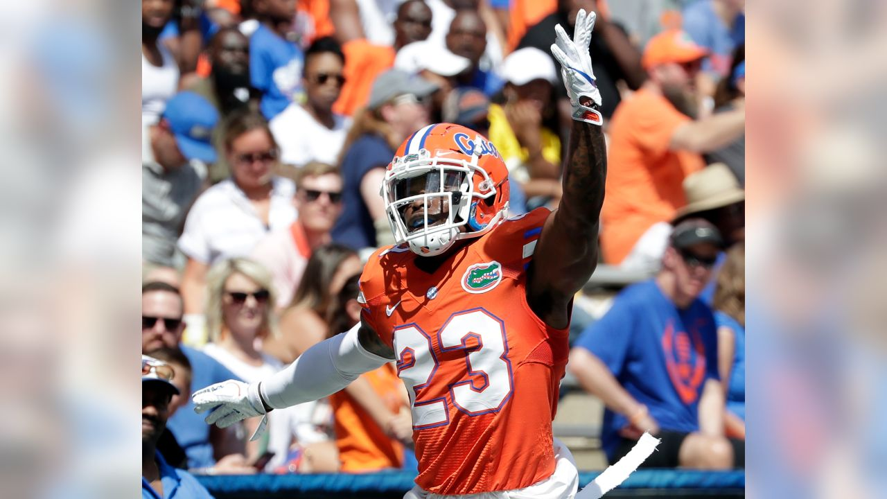 Florida defensive back Chauncey Gardner-Johnson celebrates after a play during a spring football intrasquad game, Saturday, April 14, 2018, in Gainesville, Fla. (AP Photo/John Raoux)