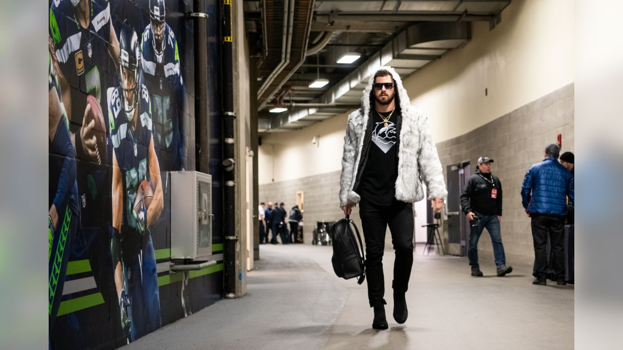 Seahawks tight end Nick Vannett arrives at CenturyLink Field in advance of the Monday Night Football game against the visiting Minnesota Vikings.