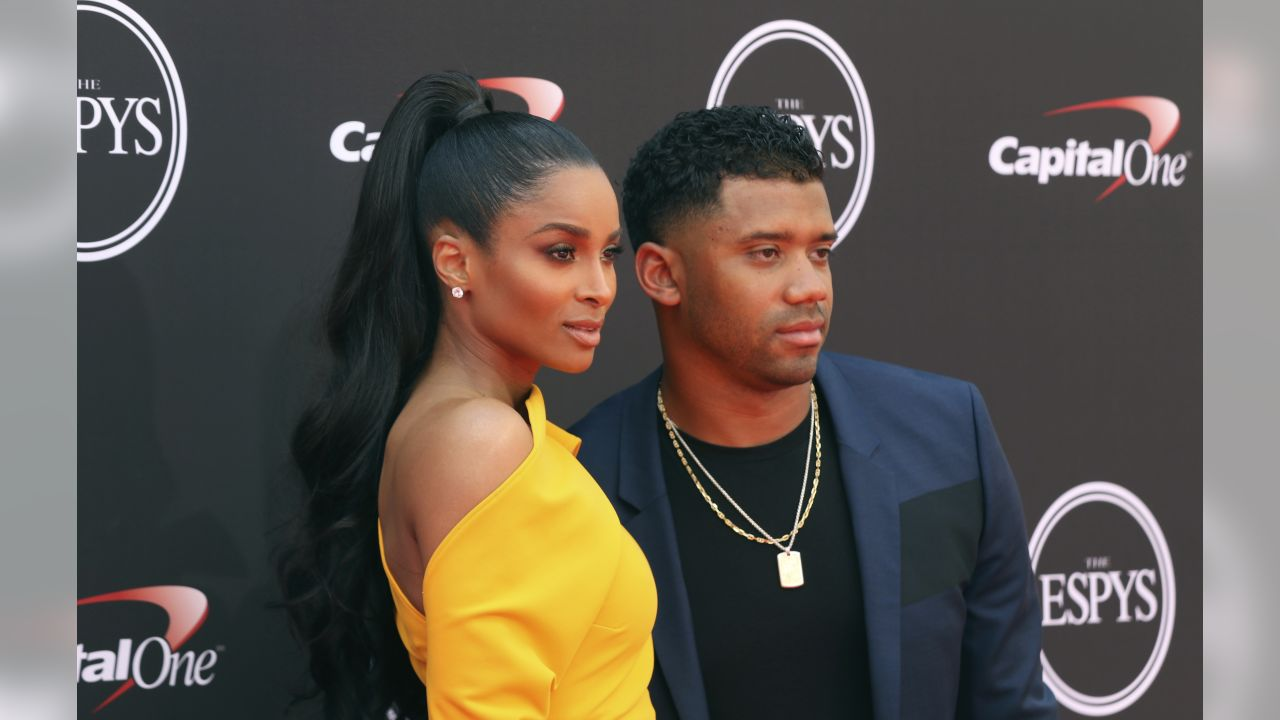 Ciara, left, and Seattle Seahawks' Russell Wilson arrive at the ESPY Awards at Microsoft Theater on Wednesday, July 18, 2018, in Los Angeles. (Photo by Willy Sanjuan/Invision/AP)