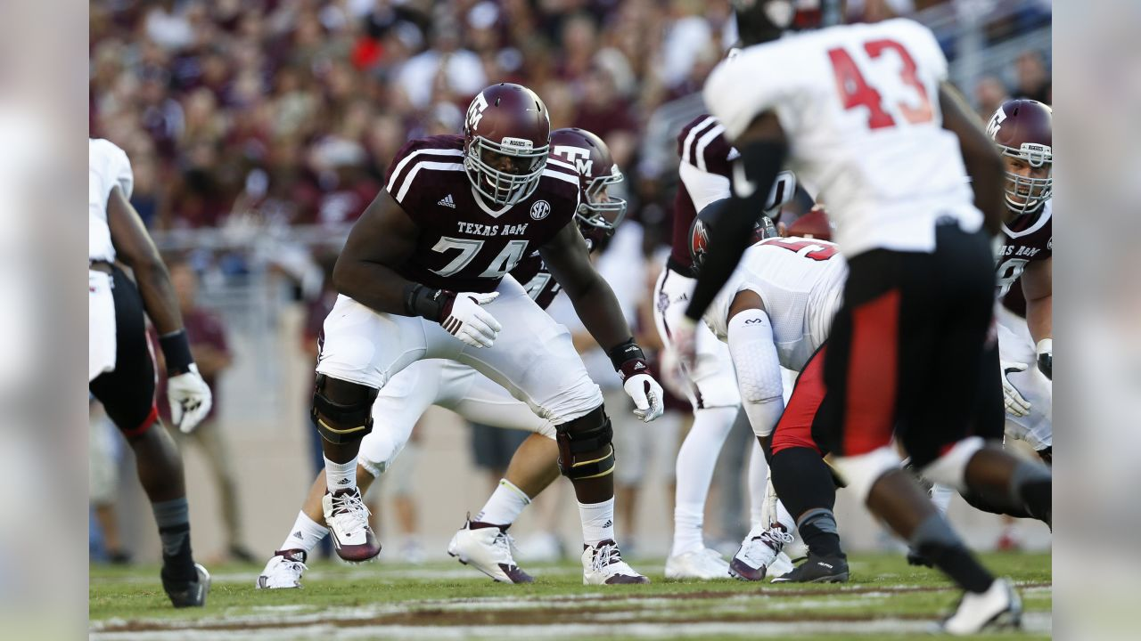 Texas A&M University Aggies offensive lineman Germain Ifedi (74) blocks during an NCAA college football game against the Ball State University Cardinals at Kyle Field on Saturday September 12, 2015 in College Station, Texas. Texas A&M University won 56-23. (Aaron M. Sprecher via AP)