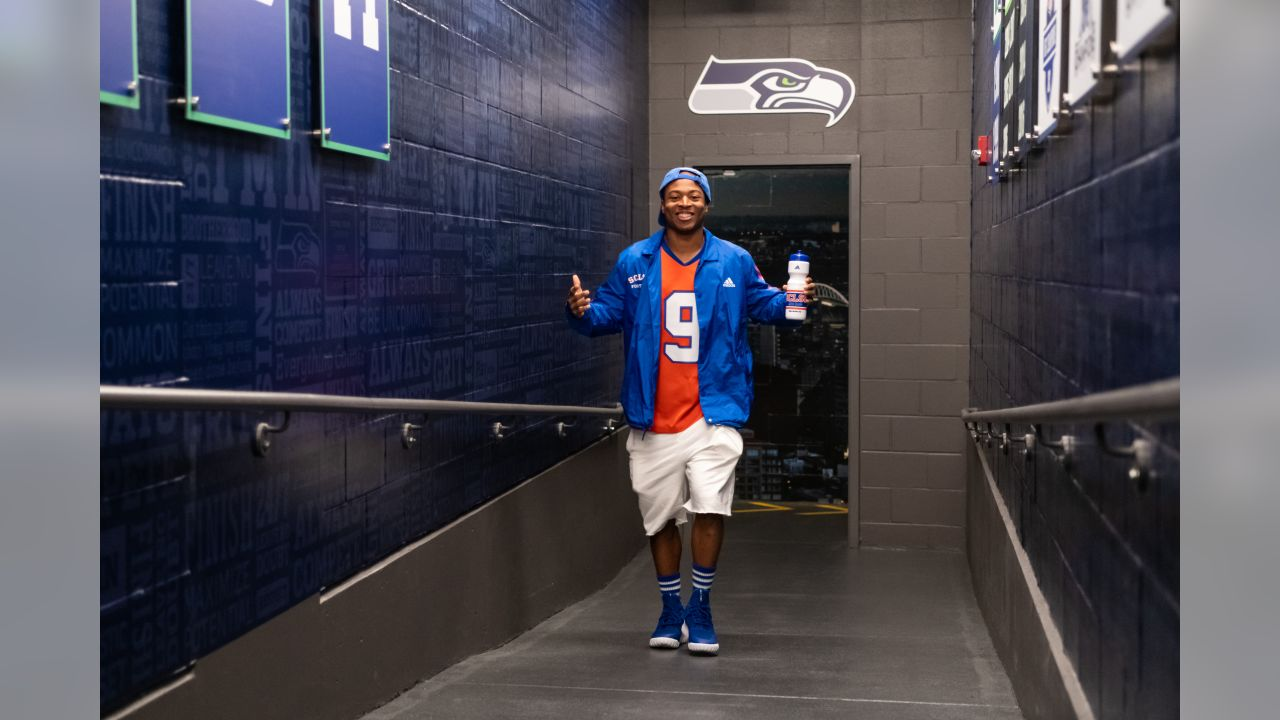 """For Thursday Night Football, receiver Tyler Lockett arrived dressed as the legendary """"Bobby Bouchard"""" from the movie """"The Waterboy""""."""