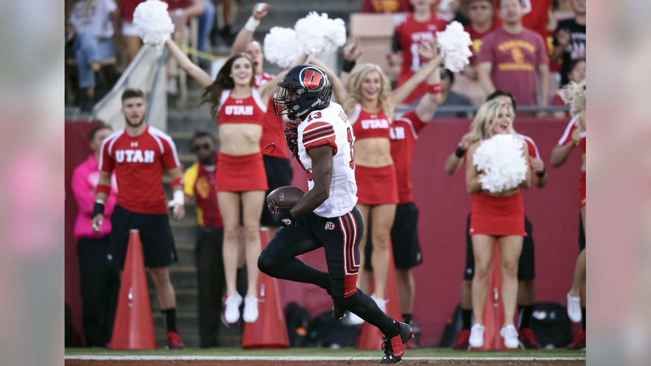 Utah defensive back Marquise Blair recovers a fumble for a touchdown during the first half of an NCAA college football game against Southern California in Los Angeles, Saturday, Oct. 14, 2017. (AP Photo/Kelvin Kuo)