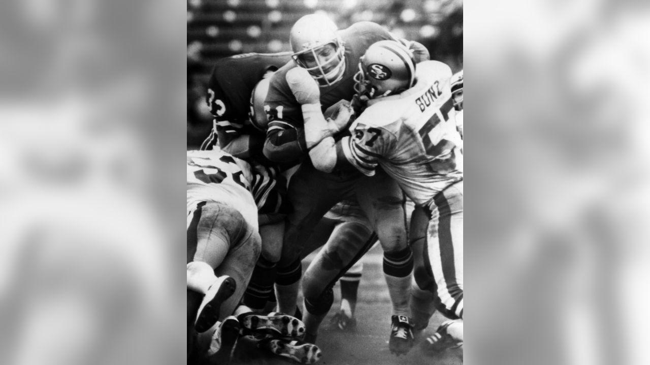 Seattle Seahawks guard Tom Lynch (61) takes on San Francisco 49ers linebacker Dan Bunz (57) during an NFL game in San Francisco, Oct. 7, 1979. The Seahawks defeated the 49ers 35-24. (AP Photo/NFL Photos)