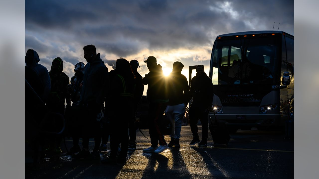 The Seahawks began their trip across country late Friday afternoon, leaving their buses and waiting to board their charter flight to Charlotte, North Carolina for the game against the Panthers.