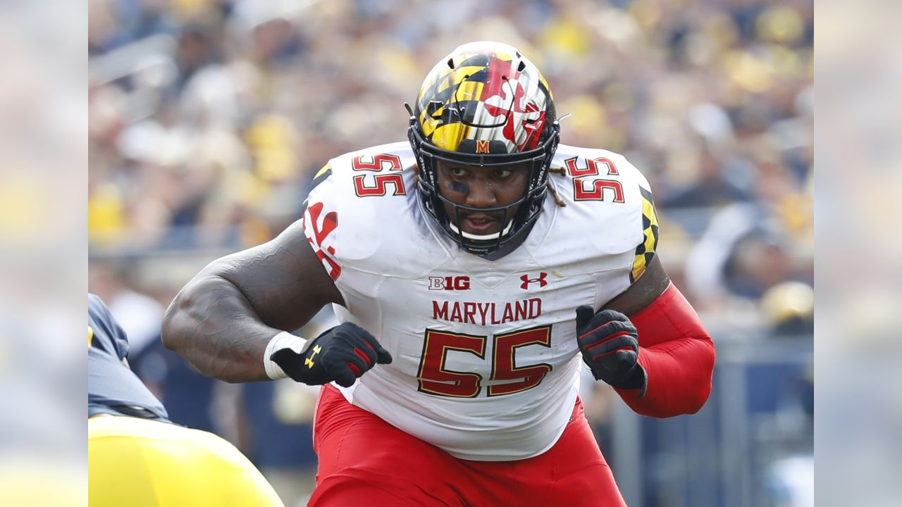 Maryland offensive lineman Derwin Gray (55) blocks against Michigan in the second half of an NCAA college football game in Ann Arbor, Mich., Saturday, Oct. 6, 2018. Michigan 42-21. (AP Photo/Paul Sancya)