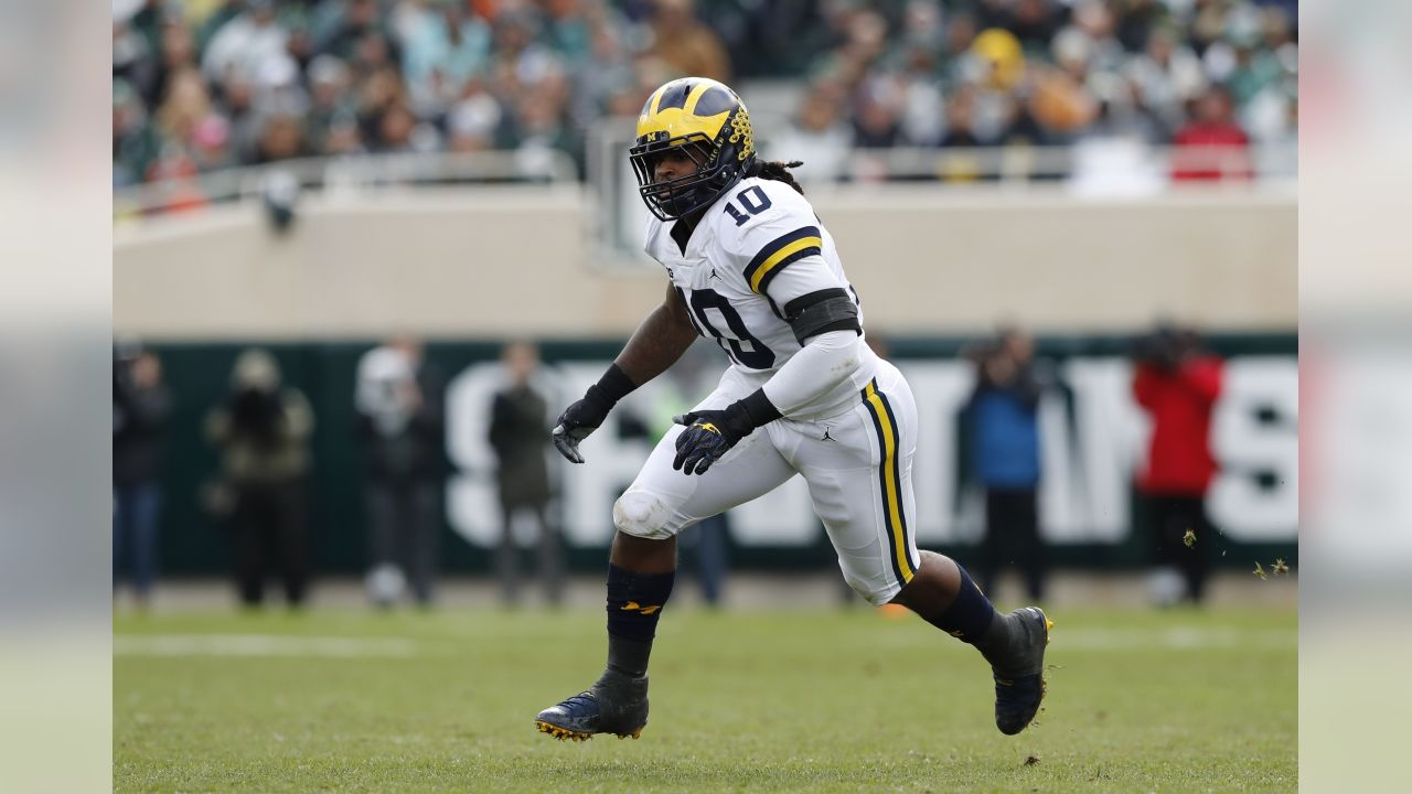 Michigan linebacker Devin Bush follows the ball during the first half of an NCAA college football game against Michigan State , Saturday, Oct. 20, 2018, in East Lansing, Mich. (AP Photo/Carlos Osorio)