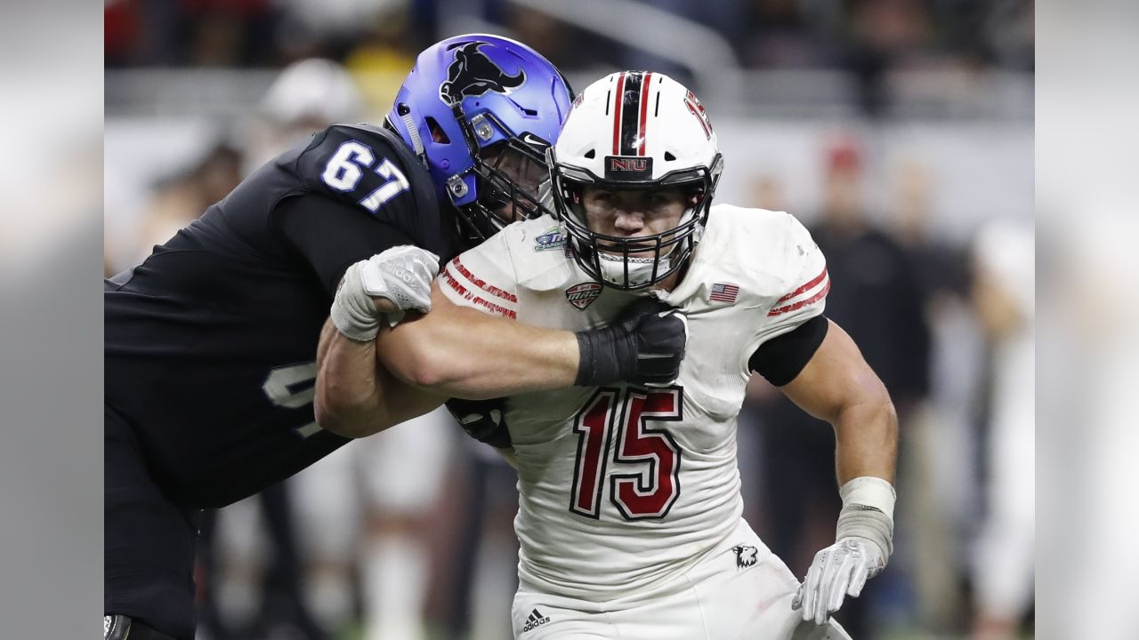 Northern Illinois defensive end Sutton Smith during the second half of the Mid-American Conference championship NCAA college football game against Buffalo, Friday, Nov. 30, 2018, in Detroit. (AP Photo/Carlos Osorio)