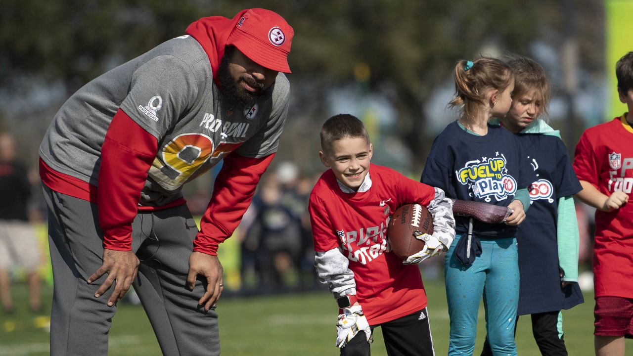 The AFC Pro Bowl team practices at the ESPN Wide World of Sports in Orlando, FL.