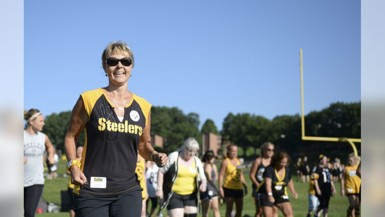 Steelers fans participate in Women's Training Camp at Saint Vincent College during the 2018 Steelers Training Camp.