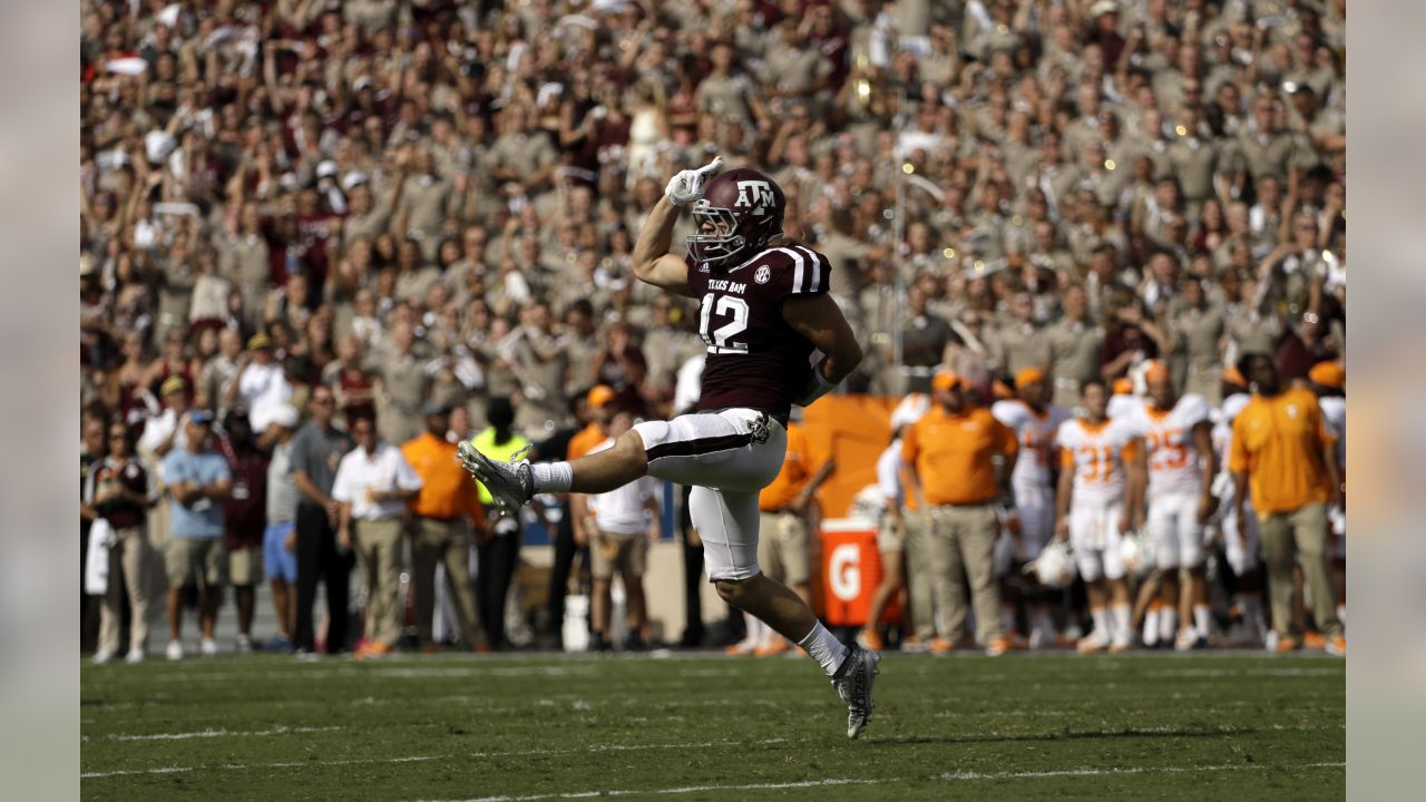 Texas A&M's Cullen Gillaspia celebrates after causing a fumble by Tennessee on a kickoff return during the first half of an NCAA college football game Saturday, Oct. 8, 2016, in College Station, Texas. Texas A&M recovered the fumble. (AP Photo/David J. Phillip)