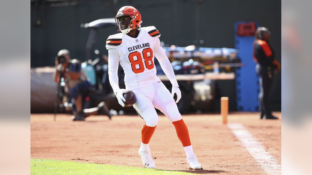 Cleveland Browns tight end Darren Fells (88) scores a touchdown against the Oakland Raiders during the first half of an NFL football game in Oakland, Calif., Sunday, Sept. 30, 2018. (AP Photo/Ben Margot)