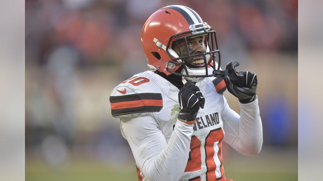 Cleveland Browns cornerback Briean Boddy-Calhoun (20) celebrates during an NFL football game against the Carolina Panthers, Sunday, Dec. 9, 2018, in Cleveland. Cleveland won 26-20. (AP Photo/David Richard)