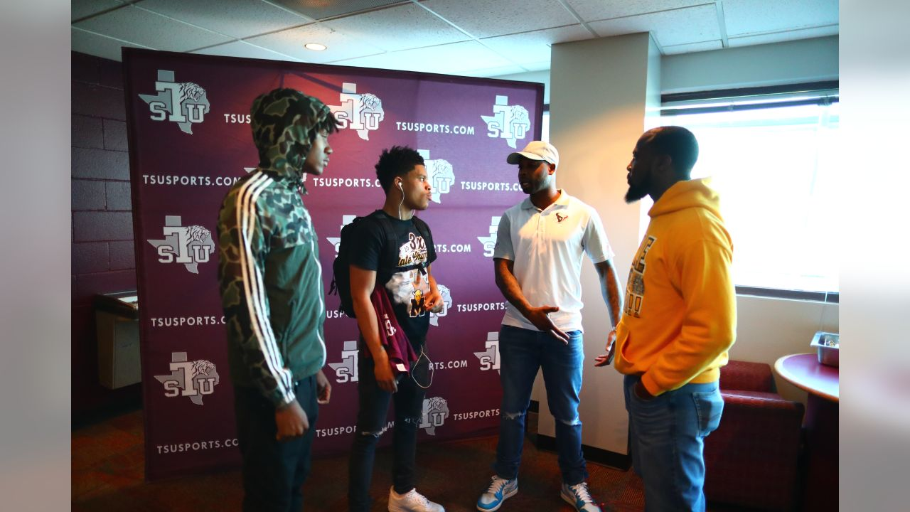 An image from the Feb. 12, 2019 community development event in which 11th grade members of the Marshall High School football team visited Prairie View A&M University and Texas Southern University.  The students were accompanied by current and former Texans players.