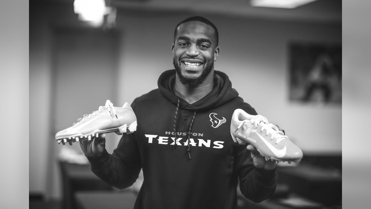 """An image from the Nov. 29, 2018 event in which customized cleats for the """"My Cause My Cleats"""" program were revealed to Texans players."""